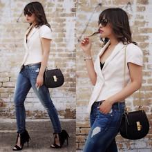ASYMMETRIC BLAZER , fringe heels, Jeans