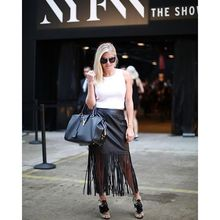 A little frantic getting to the @desigual show today, but what would #NYFW be without a little craziness!, fringe leather skirt, nyfwss16