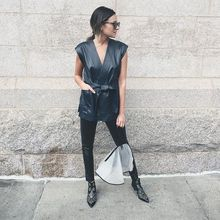 afternoon change into all leather and added the @handbagraincoat to protect my bag from getting wet, leather, wrap tank, leather pants, stud booties, nyfwss16