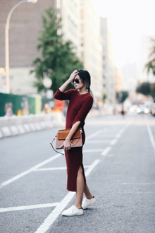 ANOTHER RIBBED KNIT, midi dress, fall closet essentials
