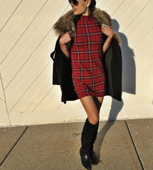 {fashion} Nordstrom TOPSHOP Holiday, winter dress, plaid tunic dress, knee high boots, faux fur coat