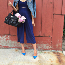 {style} Lily Jade, pointed shoes, jumpsuit