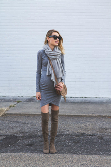 RUCHED BODY CONSCIOUS DRESS : FALL LAYERING, over the knee boots, scarf, earth tone