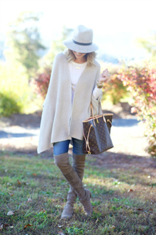 TRAVEL STYLE AND A FEW PHONE SNAPS..., over the knee boots, poncho, cape