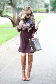 SWEATER DRESS AND BLANKET SCARF..., scarf, over the knee boots