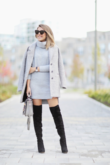 CHIC SWEATERDRESS, over the knee boots, sweater dress