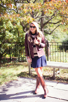 OUTFIT   STRIPE DRESS + FIELD JACKET, knee high boots