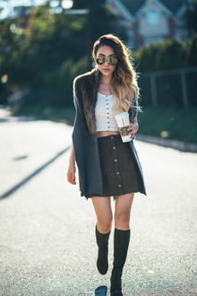 HOT BUTTON, knee high boots, tall boots, fur, button front skirt
