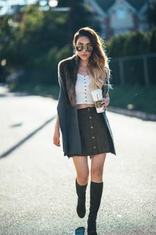 HOT BUTTON, knee high boots, tall boots, fur, button front skirt