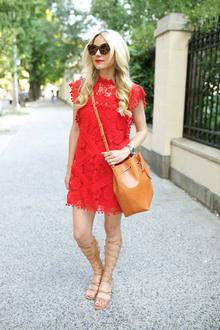 pom pom, mockneck, lace dress