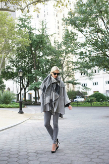 grey for days, grey, poncho, scarf