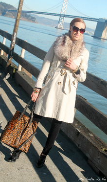 Modern Twist on a Classic Trench, Trench coat, animal print, studs, faux fur