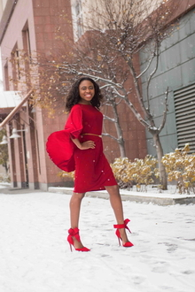 Holiday Red-dy, Cape, Holiday, Glam, Red dress, dressy