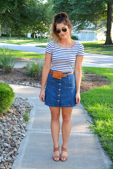70s Denim Skirt + A Hip Belt, 70s style, stripes, crop tops, h&m, dolce vita, wedges, hip belt, fanny packs, madewell