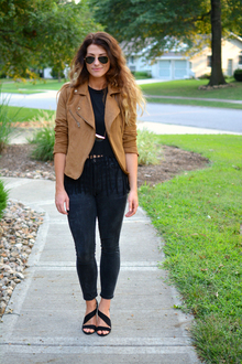 Faux Suede Jacket., H&M, forever21, black, camel, neutrals, suede, boho, jackets, madewell,