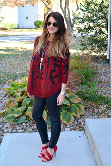 Burgundy + Leather., sweaters, prints, aztec, express, leather, leather leggings, blank nyc, kendra scott,