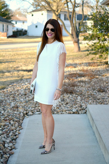 White Fringed Waffle Knit., LMallwhite, little white dress, fringe, english society, zara, snake skin, neutrals, animal prints, baublebar