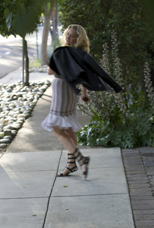 Modern Day Gladiator, work outfit, gladiator sandals, casual, dressed down, Alaia skirt, Azzedine Alaia, VEDA, leather jacket