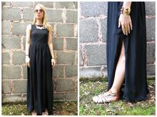 American Gothic... , maxi dress, gladiator sandals, steampunk specs, sunglasses, studded cuff