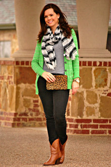 Green Cardigan and Black Jeans, green cardigan, black jeans, striped scarf, ankle boots, leopard clutch