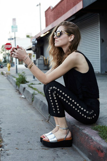 LA IN MCQ, black, edgy, silver, flatworm sandals, LMflatform