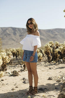 Off The Shoulder Top and Denim Skirt in Joshua Tree, LMoffshoulder