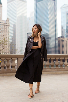 Black Strapless Jumpsuit and Lace Up Sandals in Chicago, lmespadrilles