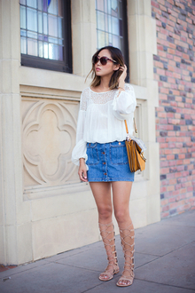 BUTTON DOWN DENIM SKIRT AND GLADIATOR SANDALS, button down skirt, gladiator