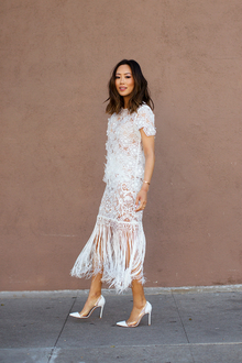 Spring Whites in Self Portrait, fringe, midi dress, lace, white, floral, embellished, LMfringe, LMallwhite