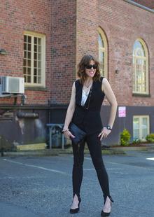 Vintage vs Modern, tuxedo vest, black skinny jeans, LMclutch