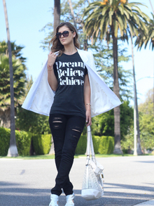 Dream, Believe, Achieve, chic, rocker, sincerely jules, tee, printed tee