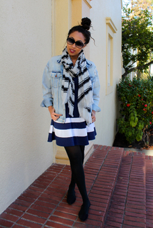 Lookmazing Glenda Scarf Challenge!, Banana Republic, Scarf, Skater Dress, Denim, Denim Jacket