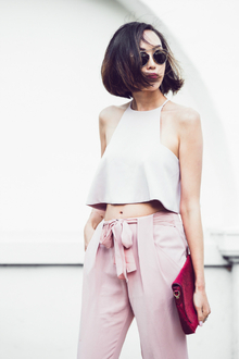 BLUSH CROP TOP & HIGH WAISTED TROUSERS, LMclutch