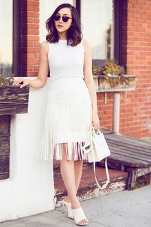 Fringe Fringe, Baby, LMfringe, LMallwhite, fringe, all white, midi skirt