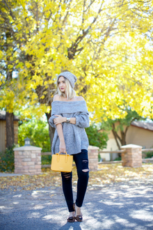 GREY AND GOLD, oversized sweater, beanie,