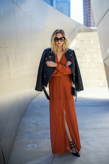 SEASONAL TRANSITIONS, winter dress, maxi dress, high slit dress, long sleeve dress, leather jacket
