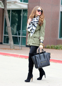 Stripes, stripes, celine, scarf, military jacket, over the knee boots