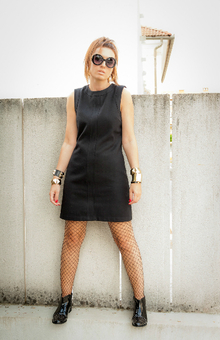 Punk'n, LBD, black, studded boots