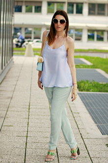 Baby Blue Cami, light blue, pastels, cami, pants, pastels