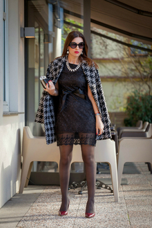 Houndstooth Coat, houndstooth, lace lbd, black and white, monochrome