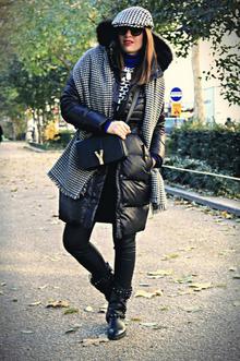 Bonjour, Paris!, monochrome, coat, houndstooth scarf