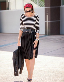 Red Detail, monochrome, stripes, pleated skirt