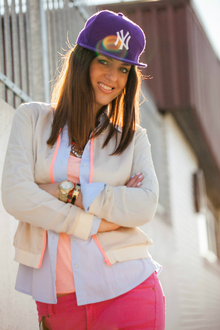 Think Pink, pink, light blue, fall layers, cap, pastels
