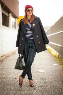 Preppy, tartan, coat, blue