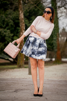 Dark Forest, pink, pastel, printed dress, dress, black and white, ladylike