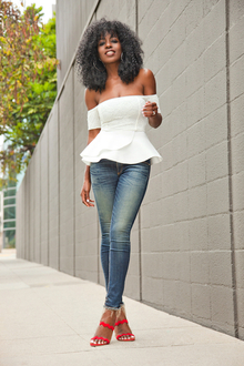 Off Shoulder Peplum Top + Ankle Length Jeans, LMoffshoulder