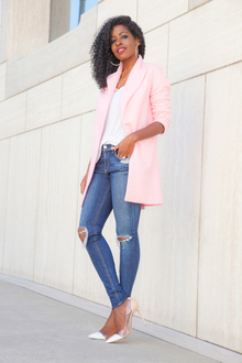 Pink Coat + Tank + Ripped Skinnies, destroyed jeans, distressed jeans, LMdjeans