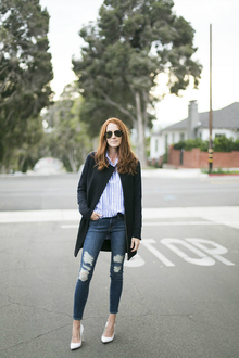 Boyish, destroyed jeans, white pump, stripe shirt, boyish, LMdjeans