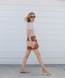 Rusted Root (See Jane Wear), button front skirt, lace top, lace up flat, pointed flat