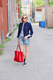 Business on Top, Party Down Below, jcrew, summer, casual, classic, navy, red tote, ray-ban,